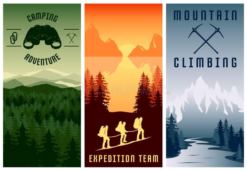 Banderas verticales de las expediciones de la montaña fijadas libre illustration