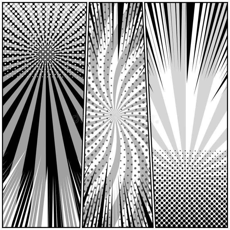 Banderas verticales del estilo monocromático cómico stock de ilustración