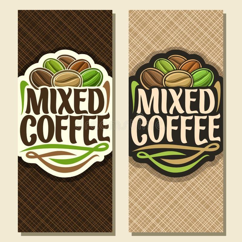 Banderas verticales del vector para el café stock de ilustración