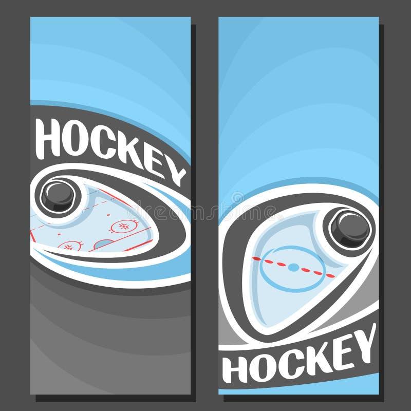 Banderas verticales del vector para el hockey sobre hielo stock de ilustración