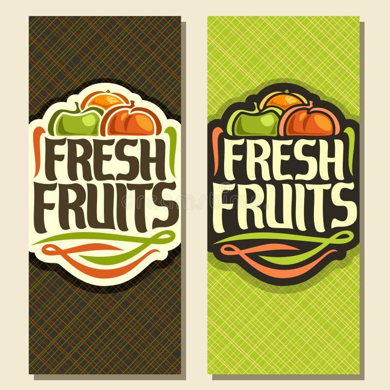Banderas verticales del vector para las frutas frescas del sistema libre illustration