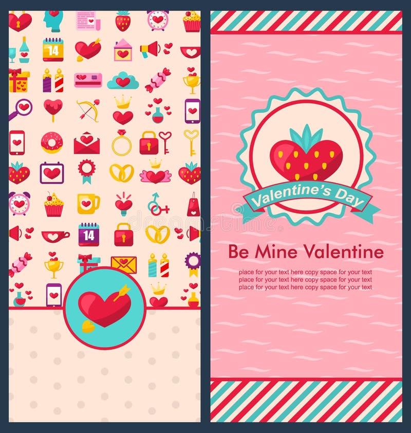 Banderas verticales hermosas determinadas para el día de tarjeta del día de San Valentín feliz stock de ilustración
