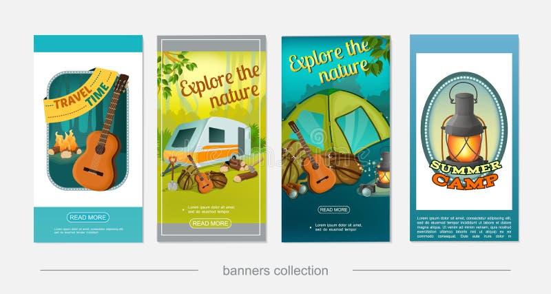 Banderas verticales que acampan coloridas de la historieta stock de ilustración