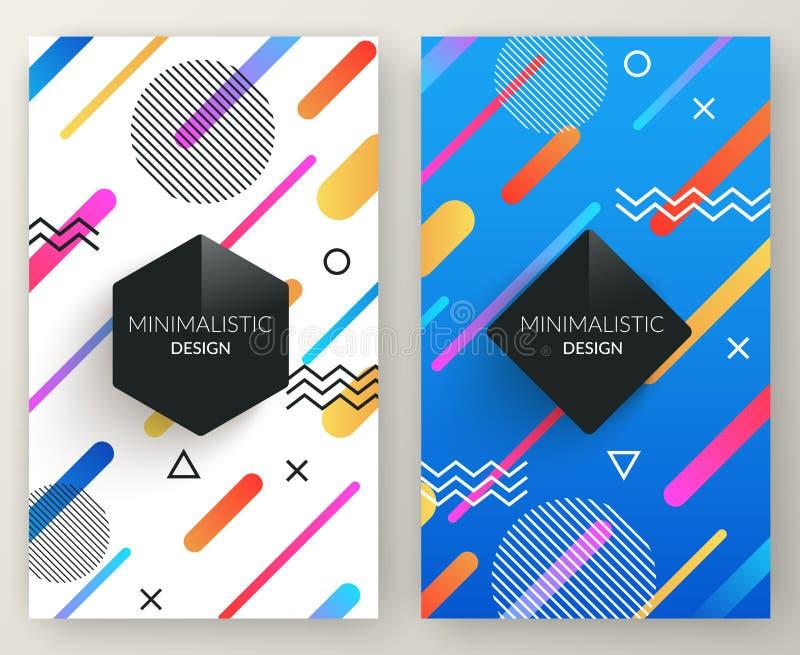 Banderas verticales retras del estilo abstracto de Memphis con formas y el marco geométricos simples multicolores del espacio de  stock de ilustración