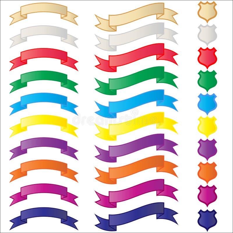 Banderas y blindajes fijados ilustración del vector
