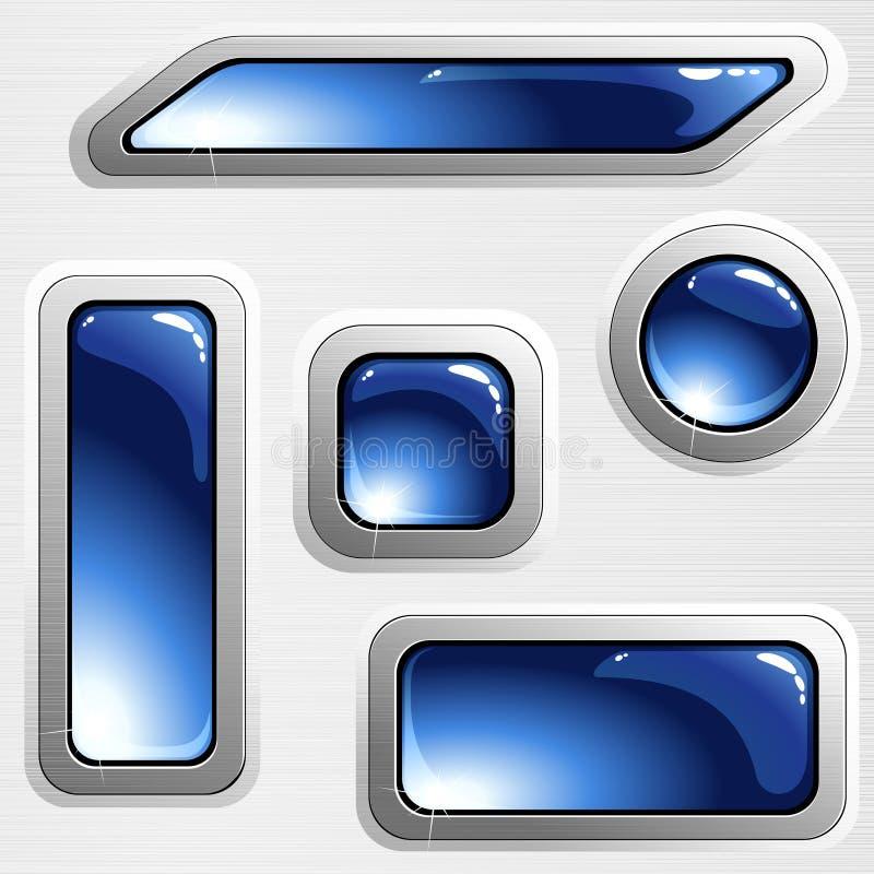 Banderas y botones de acero aplicados con brocha azules stock de ilustración