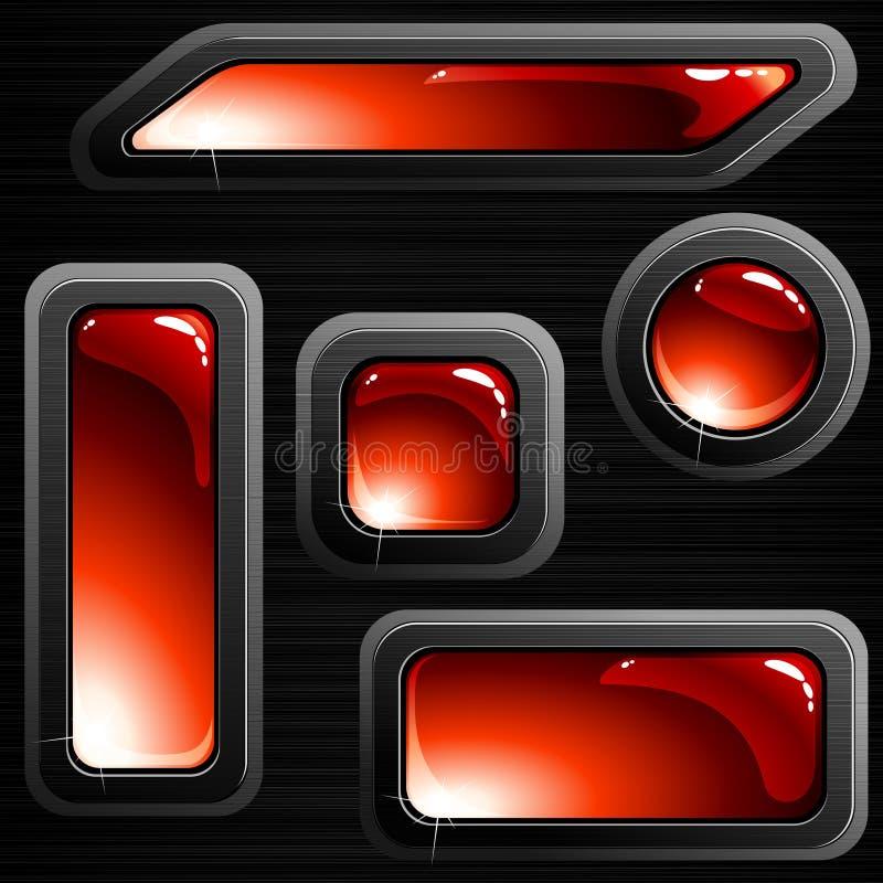 Banderas y botones de acero aplicados con brocha rojos stock de ilustración