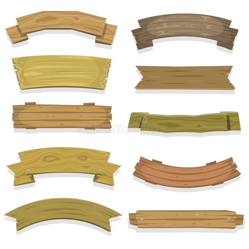 Banderas y cintas de madera de la historieta stock de ilustración