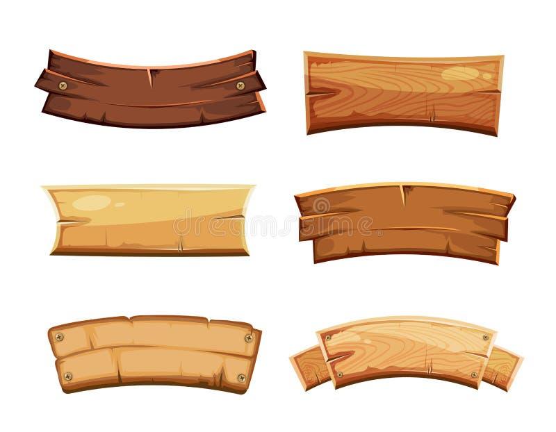 Banderas y cintas en blanco de madera, sistema occidental de la historieta del vector de las muestras stock de ilustración