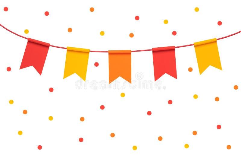 Banderas y confeti coloridos del partido del empavesado en pizca imagen de archivo libre de regalías