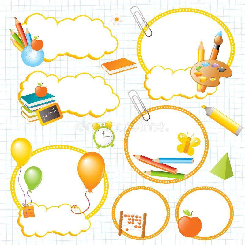 Banderas y escrituras de la etiqueta de la educación