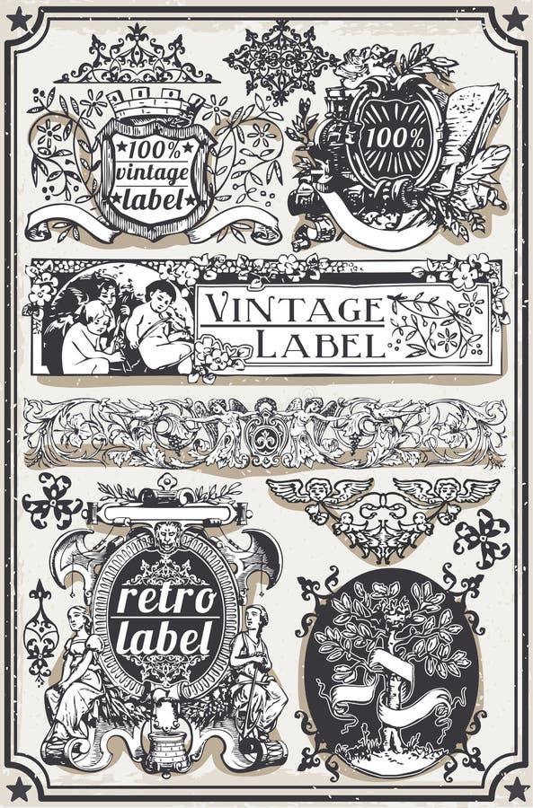 Banderas y etiquetas gráficas dibujadas mano del vintage ilustración del vector