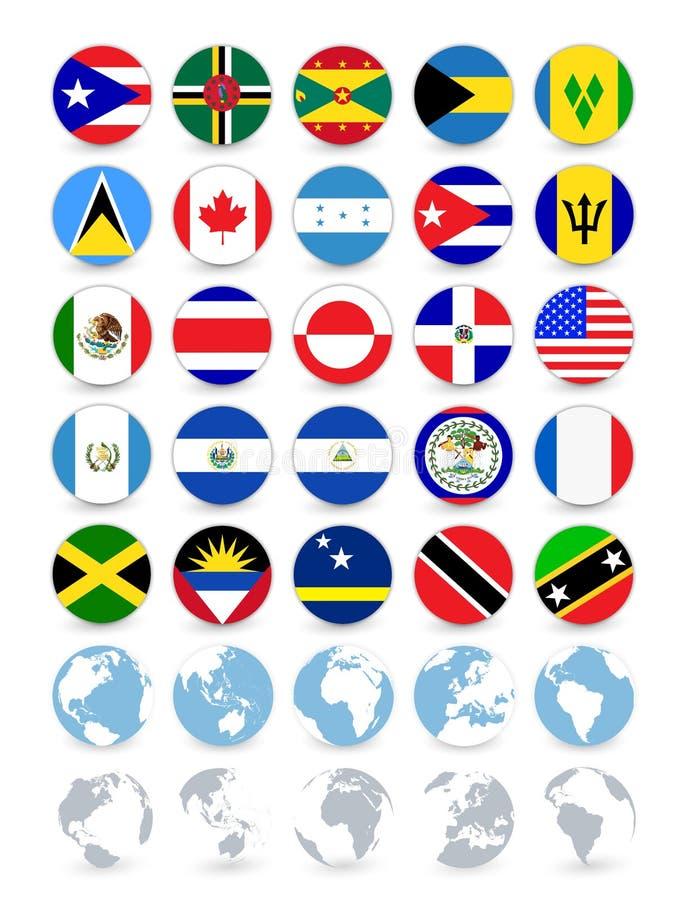 Banderas y globos redondos planos de Américas stock de ilustración