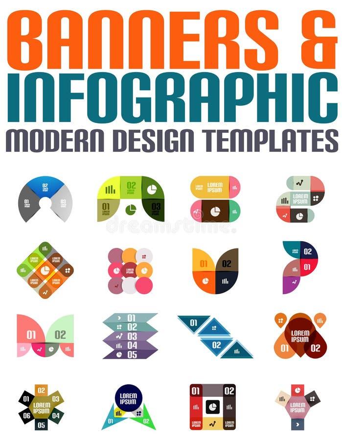 Banderas y plantillas infographic del diseño moderno stock de ilustración