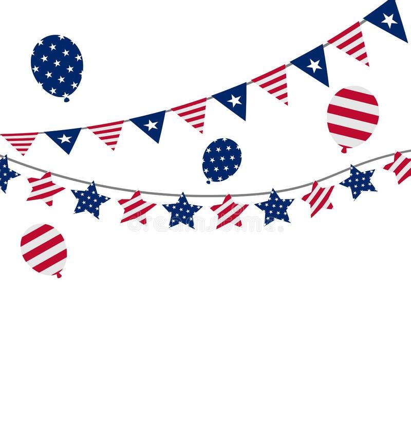 Banderines del empavesado para el Día de la Independencia los E.E.U.U., presidente Day ilustración del vector