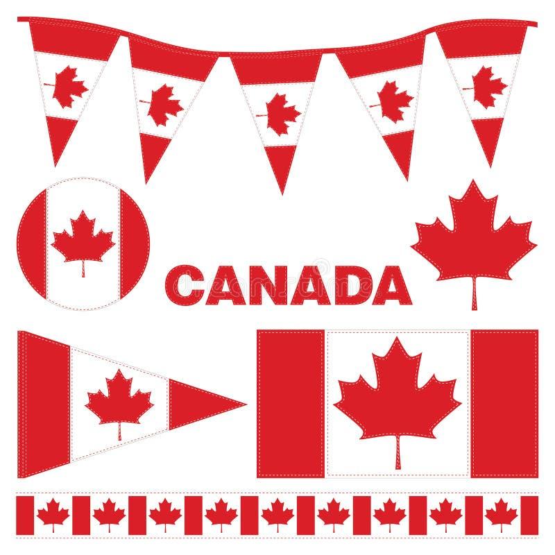 Banderines y banderas de Canadá stock de ilustración