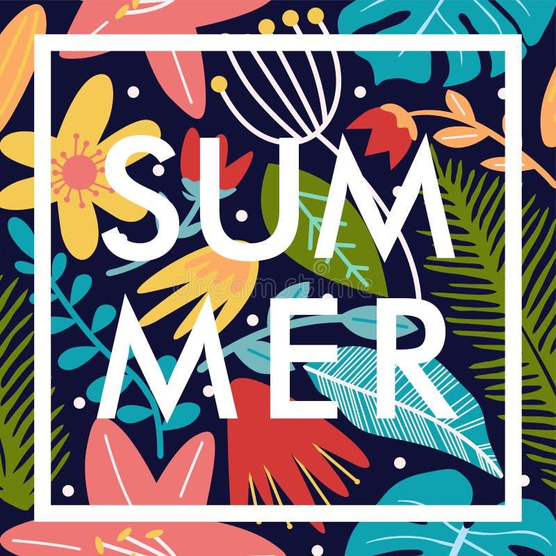 Banderole d'affiches florales d'été en forme carrée photo libre de droits