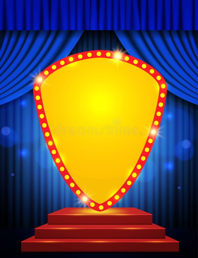 Banderole rétro sur scène avec podium rouge et rideau bleu images stock
