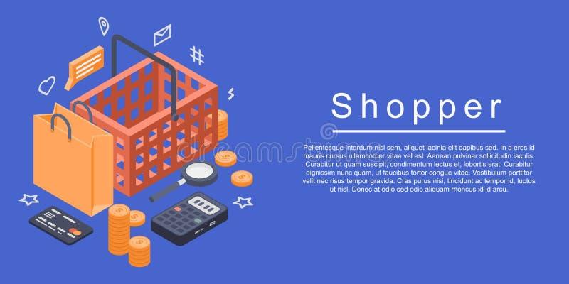 Banderoll för köpare, isometrisk stil royaltyfri illustrationer