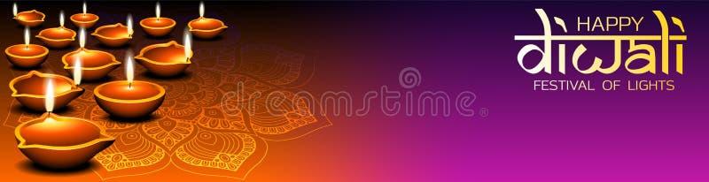 Banderoll, sociala medier eller sidhuvudedesign för webbplatser med flera brännande dijolampor och mandala för Diwali-festival stock illustrationer