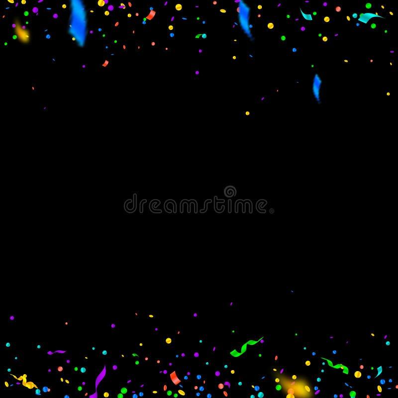 Banderoller och konfettier F?rgrikt glitter och folie r royaltyfri illustrationer