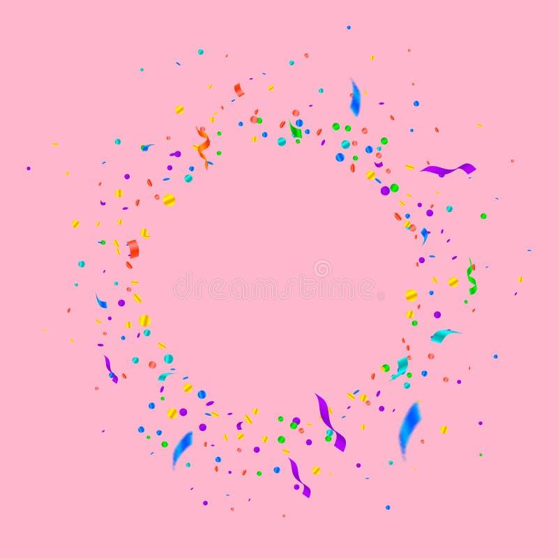 Banderoller och konfettier F?rgrikt glitter och folie r stock illustrationer