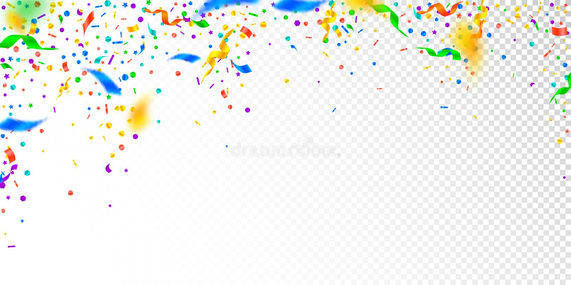 Banderoller och konfettier Festlig glitter- och folieri royaltyfri illustrationer