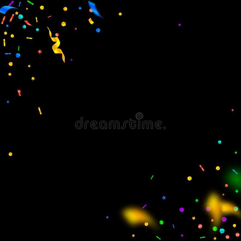 Banderoller och konfettier Festlig glitter- och folieri stock illustrationer