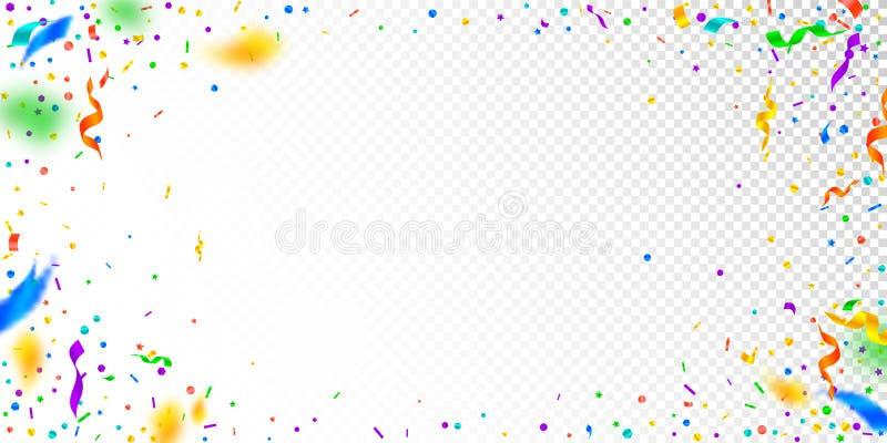 Banderoller och konfettier Festlig glitter- och folieri vektor illustrationer