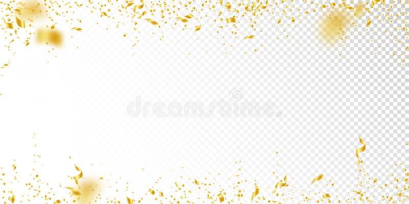 Banderoller och konfettier Guld- glitter- och folieribbo royaltyfri illustrationer