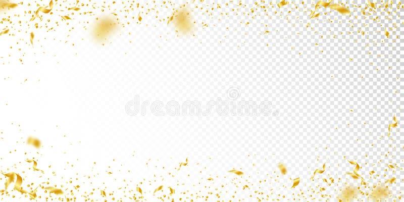 Banderoller och konfettier Guld- glitter- och folieribbo stock illustrationer