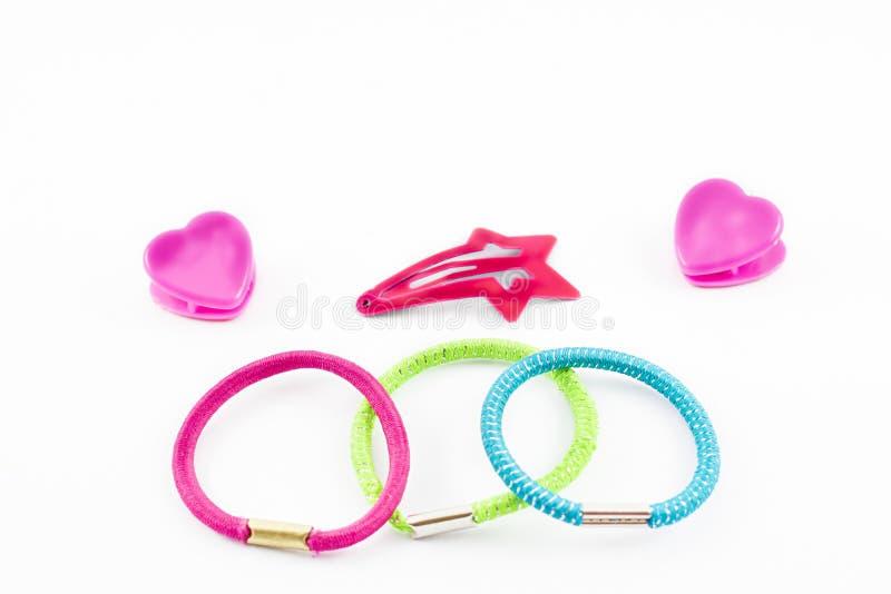 Bandes élastiques, boucles et agrafes de cheveux photographie stock libre de droits