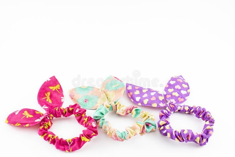 Bandes élastiques colorées pour des cheveux image libre de droits