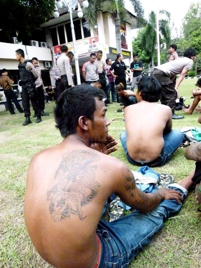 Bandes arrêtées par police photos stock
