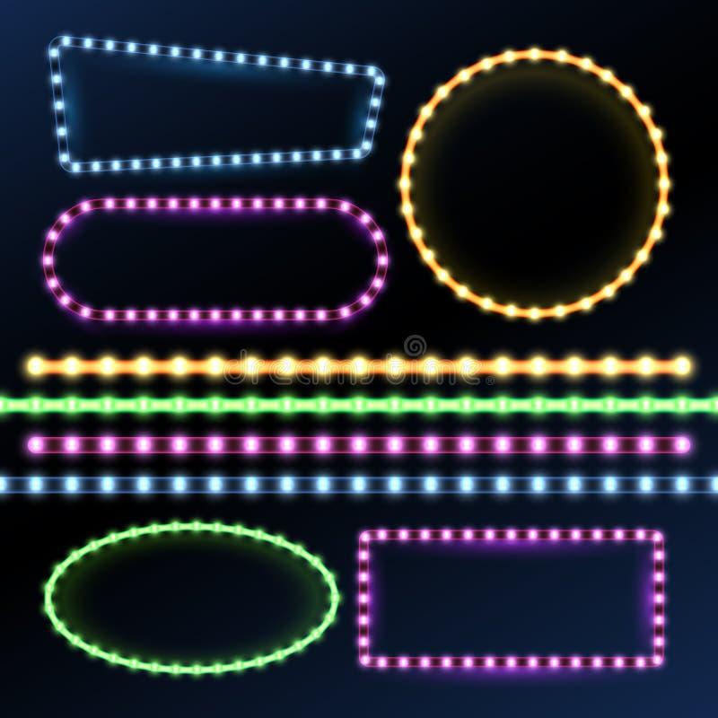 Bandes au néon et menées et ensemble léger de vecteur de cadres de frontière de diode illustration libre de droits