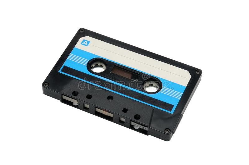 Bandes audio compactes pour l'enregistrement magnétique sur un fond blanc Cassette compacte image libre de droits