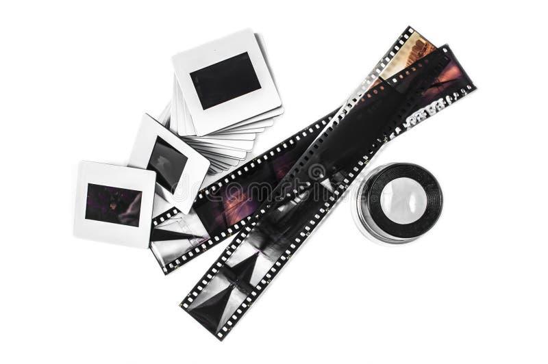 Bandes de glissière, de loupe et de film photos stock