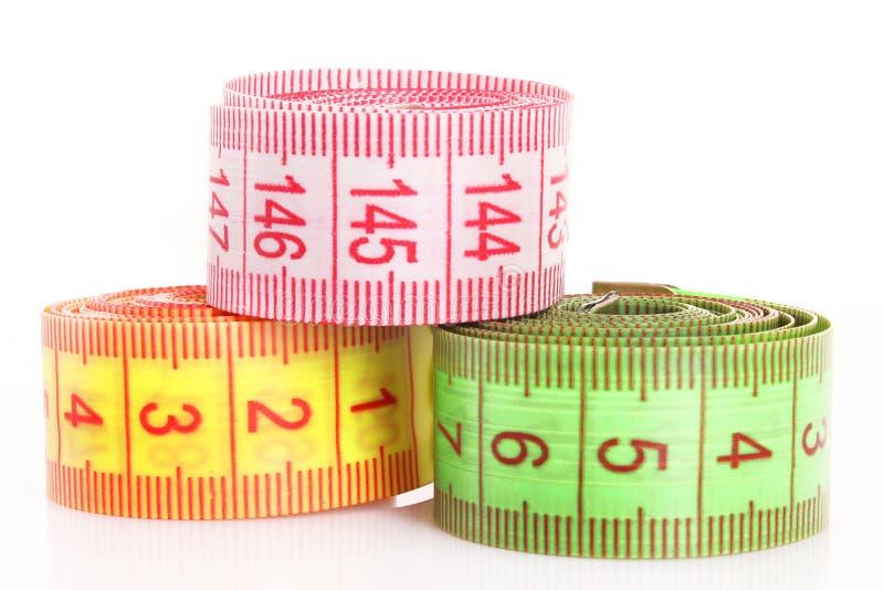 Bandes de mesure multicolores d'isolement image libre de droits
