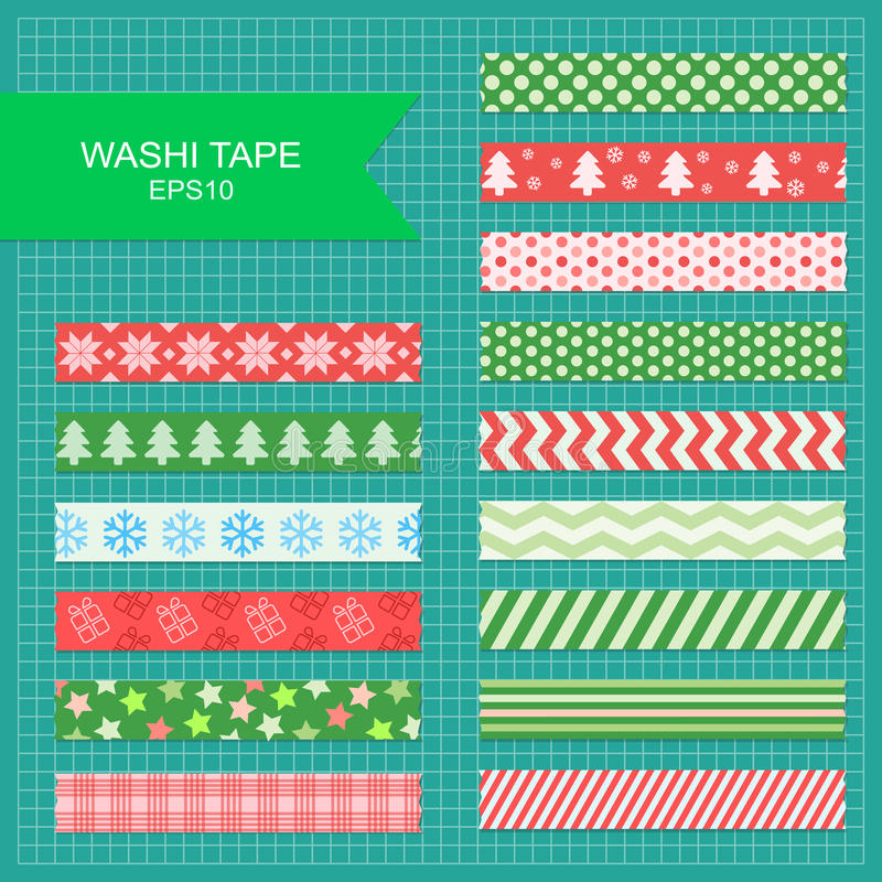 Bandes de Noël de bande de Washi illustration stock