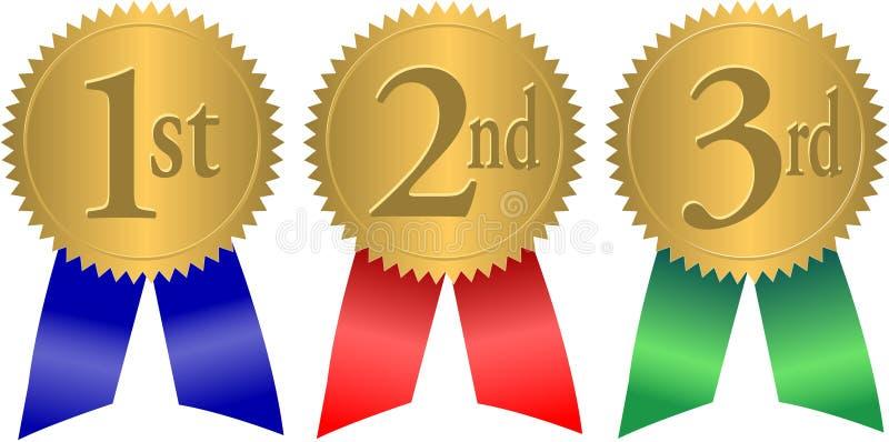 Bandes de récompense de sceau d'or/ENV illustration libre de droits