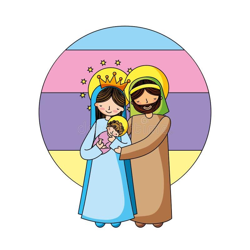 Bandes dessinées chrétiennes de famille sainte illustration de vecteur