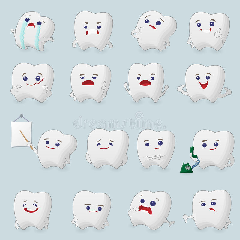 Bandes dessinées de dents réglées illustration stock