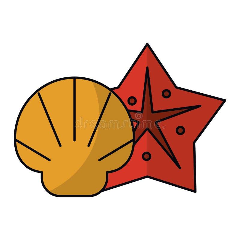 Bandes dessinées de Shell et d'étoile de mer d'isolement illustration de vecteur