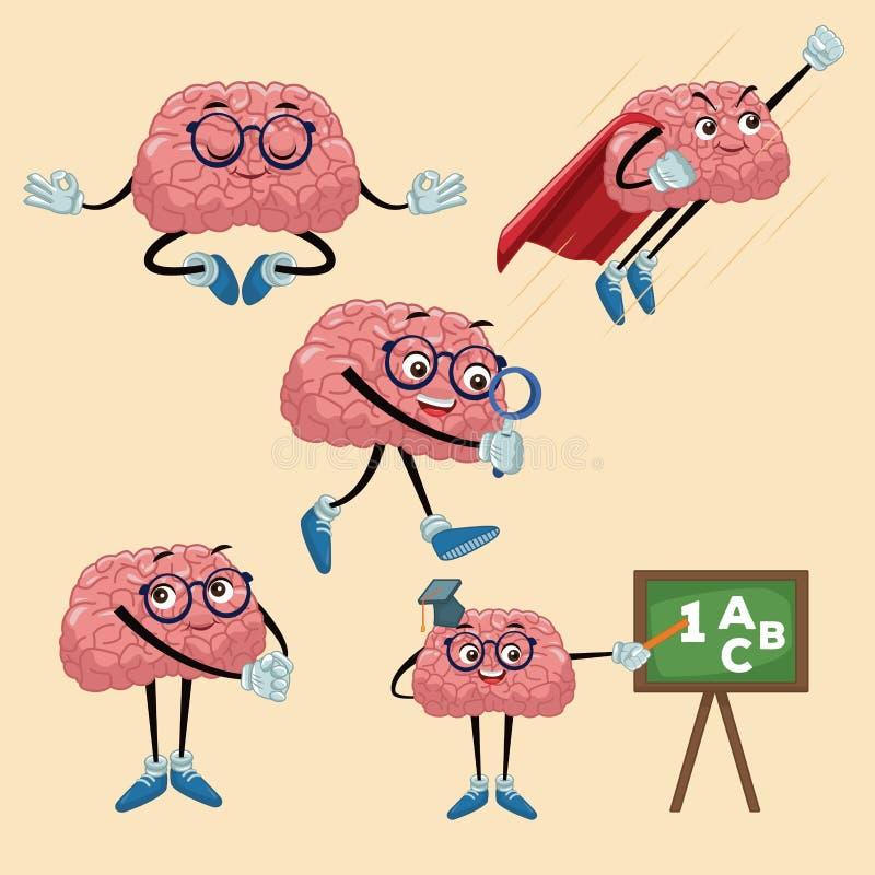 Bandes dessinées mignonnes de cerveaux illustration de vecteur
