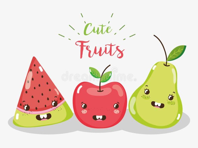 Bandes dessinées mignonnes de fruits illustration de vecteur