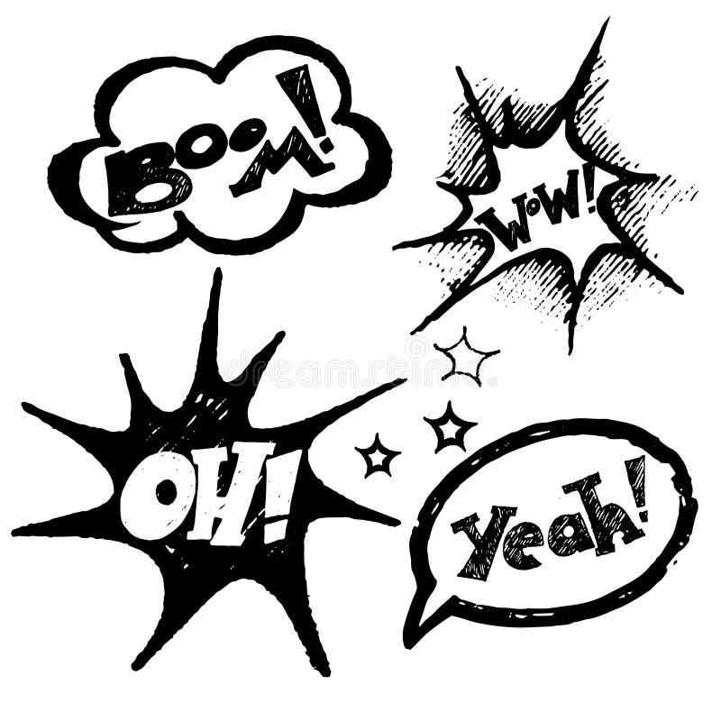 Bandes dessinées texte, ballons de craie illustration stock