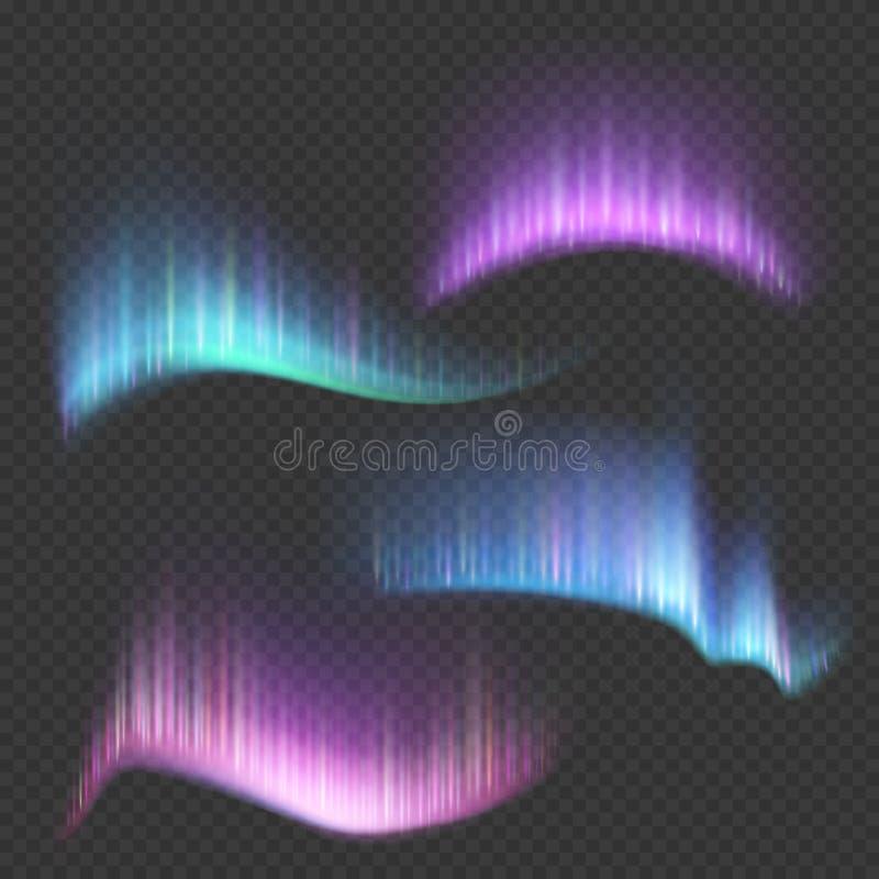 Bandes du nord de lumières de l'aurore sur le fond transparent illustration libre de droits