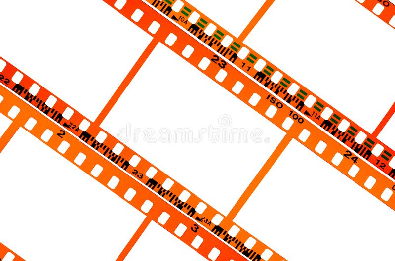 Bandes vides vides de film négatif de couleur photographie stock