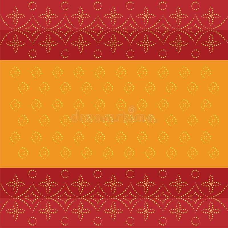 Bandhani bandhej传统印地安样式加点了设计红色橙色背景 皇族释放例证