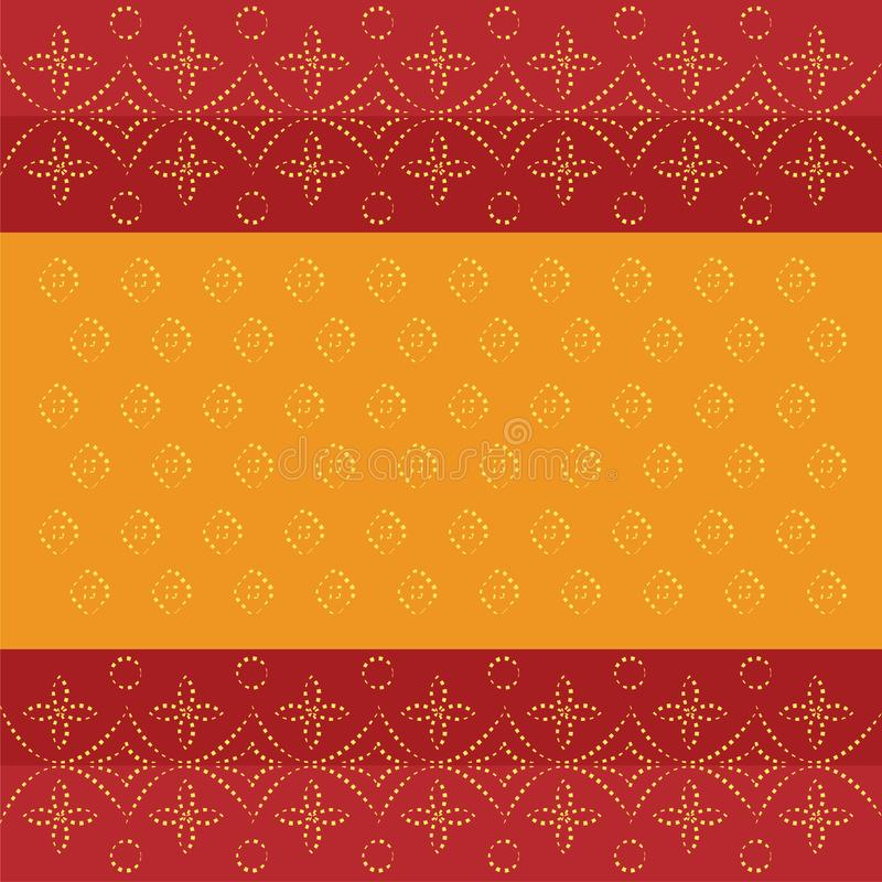 Bandhani bandhej traditional Indian pattern dotted design red orange background royalty free illustration